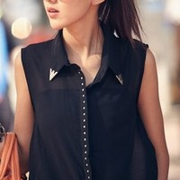 Metal Collar Blouse