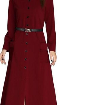 Spring And Autumn A-line Mid-Calf Length Women Office Dress Ladies Single Breasted Fashion Dresses Vestido WQL3451