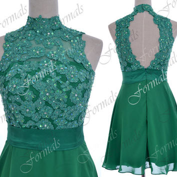 Green Prom Dresses, Mini Short Prom Dresses, High Neck Lace Chiffon Mini Short Green Homecoming Dresses, Mini Green Formal Gown