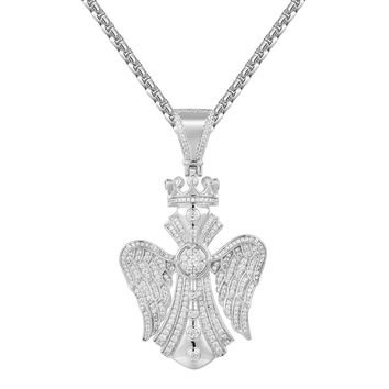 Cross with Wings & Crown Iced Out Pendant Tennis Chain Set