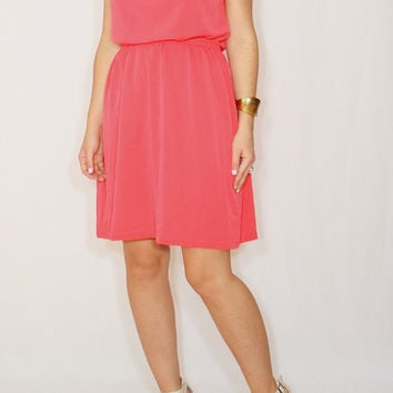 Short coral dress Chiffon bridesmaid dress Keyhole dress