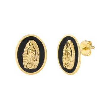 10k Yellow Gold Guadalupe Black Oval Medallion Stud Earrings 11x8