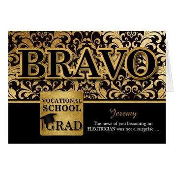 Vocational School Graduate - Faux Gold Foil Card