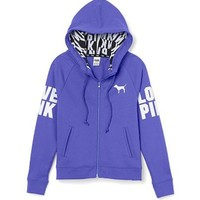 Victoria's Secret Pink Full Zip Funnel Neck Hoodie Large Purple Fashion Show