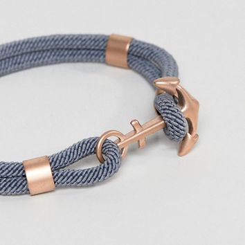 Seven London Woven Anchor Bracelet In Grey & Rose Gold at asos.com
