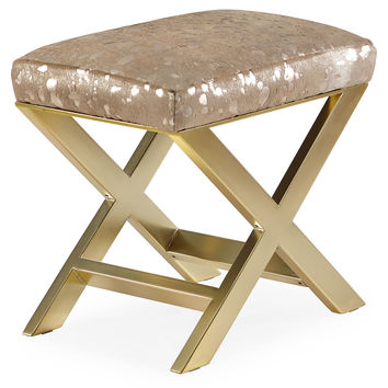 "Taylor Burke Home, Peter 23"" Ottoman, Brass/Gold, Ottomans"