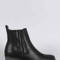 Bamboo Slit Gores Western Burnished Ankle Boots