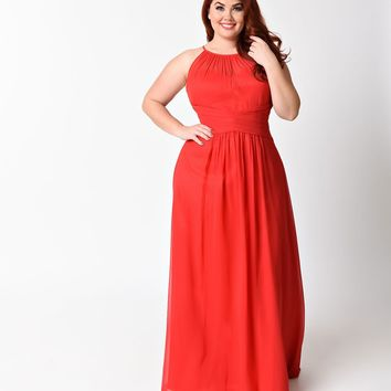 Plus Size Red Sexy Sleeveless Halter Long Dress