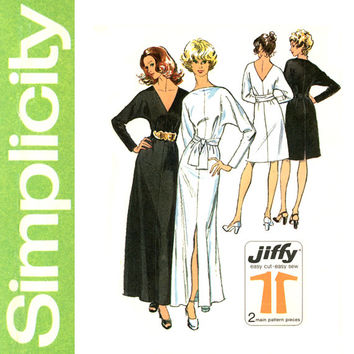1970s Jiffy Evening Dress Pattern Bust 34 36 Simplicity 5363 Bateau or Plunge Neck or Back Formal Maxi Dress Womens Vintage Sewing Patterns