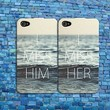 I Miss Her Him Couple Case Cute Ocean Rubber Phone Cover iPhone 4 4s 5 5c 5s 6 +
