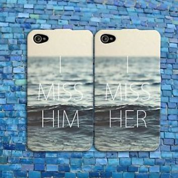 I Miss Her Him Couple Case Cute Ocean Phone Cover iPhone Bf Gf Wife Husband Cool