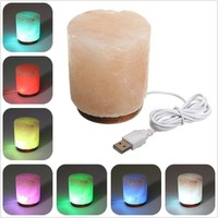 Himalayan USB Salt Lamp Cylindrical Natural Electrical Crystal Rock Air Purifier Ionized Desk Table Lamp Night Light Decorations