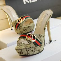 GUCCI new thin washer with high heel sandals buckle clamshell waterproof surface with high-heeled slippers F