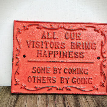 Salmon Coral Pink Visitors Wall Plaque Sign - Rustic Shabby Chic Decor
