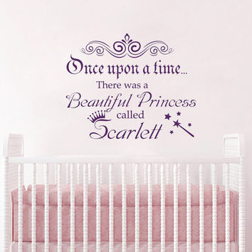 Wall Decals Quote  Once Upon A Time Little Princess Decal Kids Nursery Girl Name Vinyl Stickers Home Bedroom Crown Decor T41