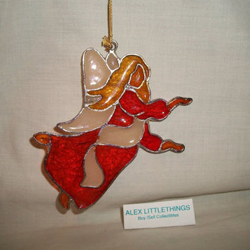 Stained Glass Angel Christmas Ornament