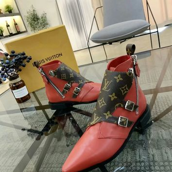 LV Women Casual Shoes Boots fashionable casual leather Women Heels Sandal Shoes created created created created