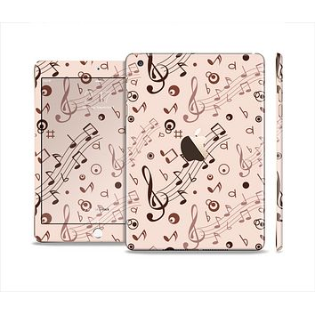 The Tan Music Note Pattern Full Body Skin Set for the Apple iPad Mini 3