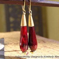 Julian Bailey Designs - Sana Wine Agate Faceted Gold Vermeil Grecian Egyptian Earrings