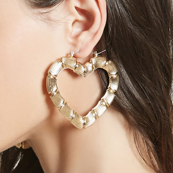 Etched Heart Hoop Earrings