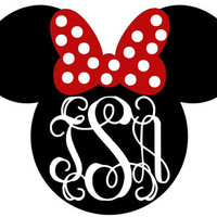 Minnie Mouse Head Monogram Decal