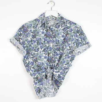 Vintage 90s Ditsy Floral Shirt Blue Green White Soft Grunge Boyfriend Shirt Button Down Cotton Blouse Faded Preppy 1990s Top S Small M Med