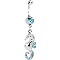 Aqua Gem Paved Swimming Seahorse Dangle Belly Ring | Body Candy Body Jewelry