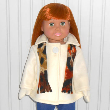 18 inch Girl Doll Clothes Beige Coat Fleece Jacket with Mittens and Scarf American Doll Clothes