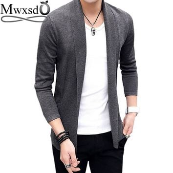 Mwxsd brand Men casual slim fit Cardigan thin Jacket and coat No button design male korean Knitting Jacket