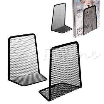 1 Pair Metal Mesh Desk Organizer Desktop Office Home Book Holder Bookends Black