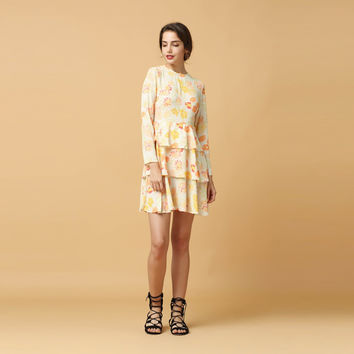 Hollow Out Floral Print Frill Long Sleeve Mini Dress