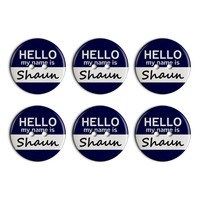 Shaun Hello My Name Is Plastic Resin Button Set of 6