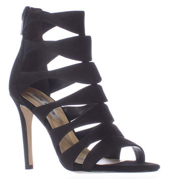 Steve Madden Swyndlee Multi Strap Dress Sandals, Black, 6.5 US