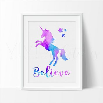 'Believe' Magical Unicorn Art Print