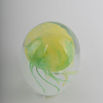 Glass Decoration of  a Green and Yellow Jellyfish Home Decor Murano Art Styled Blown Glass Figurine Colorful Statue