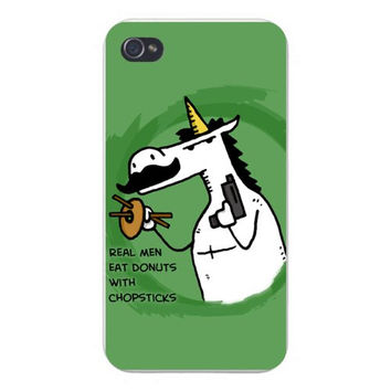 Apple Iphone Custom Case 4 4s Snap on - 'Real Men Eat Donuts with Chopsticks' Unicorn w/ Mustache