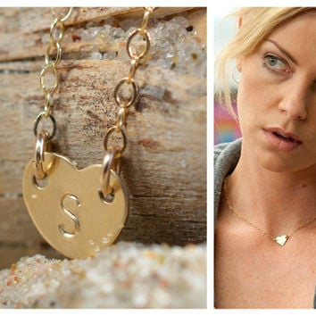 Personalized tiny heart necklace, 14K gold filled heart necklace, sideways pendant, love symbol, Valentines day gift, Initial jewelry Indrea