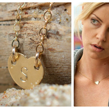 Small heart necklace, sideways personalized heart necklace, personalized heart necklace, delicate gold heart necklace, personal heart