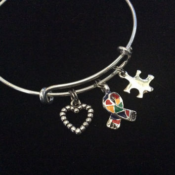 Autism Silver Puzzle Piece Awareness Ribbon Expandable Charm Bracelet Adjustable Wire Bangle Expandable Gift