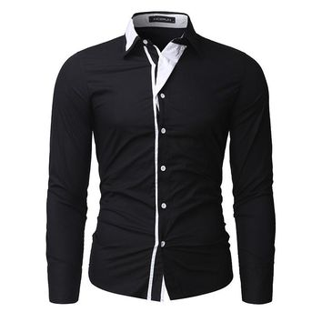 2018 New Brand Men Shirts Casual Long Sleeve Slim Fit Cotton Social Formal Dress Shirts Autumn Spring Chemise Homme Plus Size