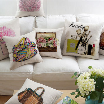 Girly Beauty and Handbag Design Throw Pillow Covers