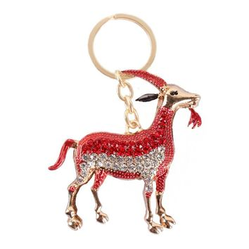 Zodiac Goat Sheep Cute Red Crystal Charm Keyring