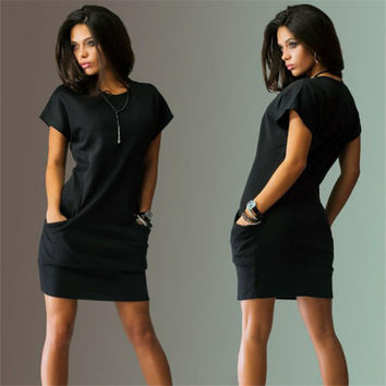 Summer 2016 Sexy Women's Casual Batwing Short Sleeve Pockets Mini Shirt Black O-Neck Dress