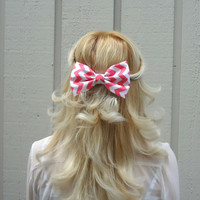 Pink and white chevron bow hair clip - big bow - bow barrette - kawaii - feminine