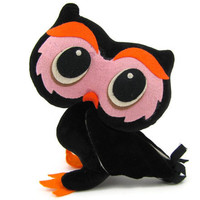 Pity Peepers - Vintage 1968 Plush Owl by Kamar, Big Eye Stuffed Animal, Black, Pink, & Orange Toy Made in Japan