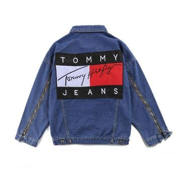 ''Tommy Hilfiger '' Trending Women Men Casual Denim Print Zipper Cardigan Jacket Coat I