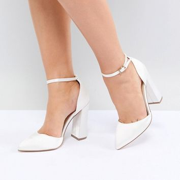 ASOS DESIGN Pebble Wide Fit Bridal Pointed High Heels at asos.com