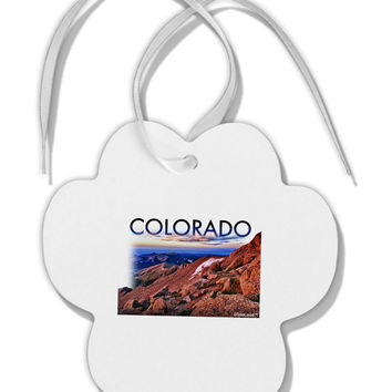 Colorado Mtn Sunset Cutout Paw Print Shaped Ornament
