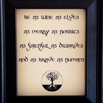 Hobbits and Elves and Dwarves and Humans Fandom Art Print. The Fellowship Typography Print. Fandom Poster.