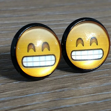 Emoji earrings-  Grimacing Face- in black earrings